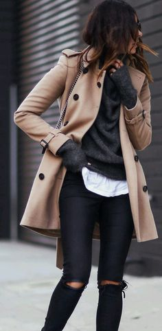Layers of camel, grey and black for winter fashion