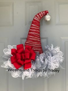 DT Santa Hat w Silver -2017-Wreaths and Things by Tracey