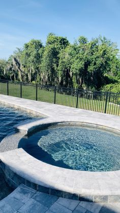 Kitchen Remodel Discover Private Pools and Outdoor Spaces Peaceful pool views in this private outdoor space. Small Backyard Pools, Backyard Pool Designs, Swimming Pools Backyard, Swimming Pool Designs, Outdoor Pool, Outdoor Spaces, Lap Pools, Indoor Pools, Small Pools