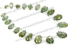 Moss Aquamarine Faceted Pear Quality A /  18 by GemstoneWholesaler
