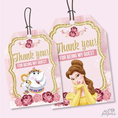 INSTANT DOWNLOAD - Thank You Tags - Favor Tags -Beauty and the Beast - Princess Belle Party - Birthday Party Favor -Mrs Pot and Chip - Belle