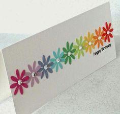 Simple simple handmade birthday card rainbow floral punch - 100 Best Easy DIY Crafts images - rainbow Stills Ideas Scrapbook, Scrapbook Cards, Handmade Birthday Cards, Greeting Cards Handmade, Easy Diy Birthday Cards, Simple Handmade Cards, Diy Cards Easy, Simple Card Designs, Flower Birthday Cards