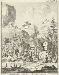 Nordic Sami religious ceremony. Published engraving 1682