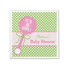Pink Baby Rattle, It's A Girl Baby Shower Paper Napkin