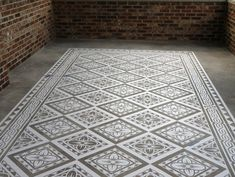 Modello Masking Patterns for Concrete Carpets and Floor Stenciling in Elegant Home Decor Design Stenciled Concrete Floor, Painted Concrete Floors, Painting Concrete, Stained Concrete, Plywood Floors, Concrete Furniture, Concrete Tiles, Concrete Countertops, Laminate Flooring