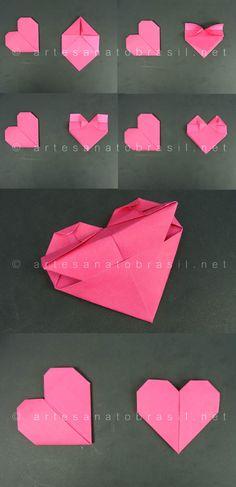 Passa a passo de como fazer um Coração Origami - Marcador de página- Acesse!