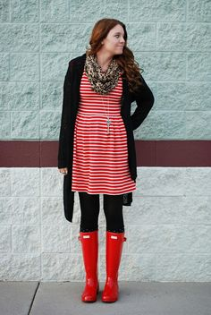 Stripes and red Hunter rain boots!! Outfit from the red closet diary blog.