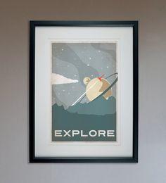 Sci-Fi rétro Explorer affiche - impression 13 x 19
