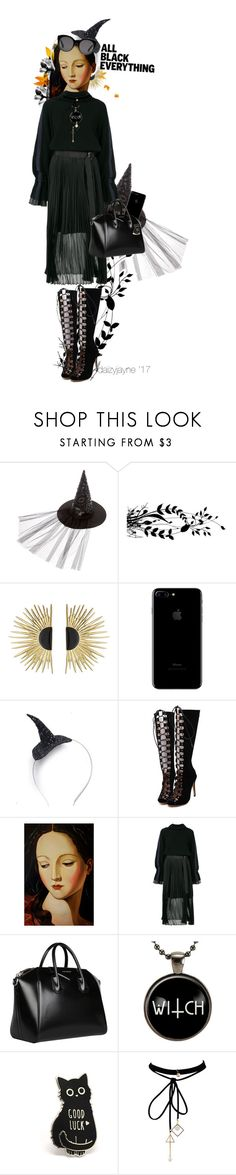"""Monochrome witchy"" by daizyjayne ❤ liked on Polyvore featuring Aurélie Bidermann, WithChic, Sacai, Givenchy, Gucci, allblack and contestentry"