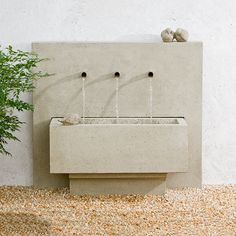 With its bold lines and geometric shape the X3 Wall Fountain is truly a unique piece. It will give any outdoor living area or garden a modern look and is sure to be the center of attention with its 3-spout water display.