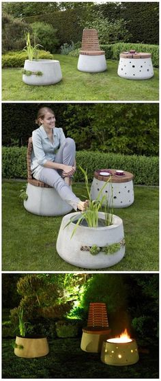 Beautiful Concrete Garden Furniture http://worldingreen.blogspot.hu/2013/03/beautiful-concrete-garden-furniture.html