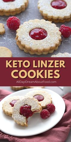 Linzer cookies get a keto makeover! Tender almond and hazelnut flour sandwich cookies with a sweet raspberry filling. So pretty and perfect for the holidays. Linzer Cookies, Candy Cookies, Keto Cookies, Yummy Cookies, Keto Holiday, Holiday Treats, Holiday Recipes, Low Carb Sweets, Low Carb Desserts