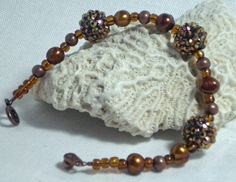 Copper Bling Ball Bracelet with Pearls by DesignsByJuneBug on Etsy, $32.00