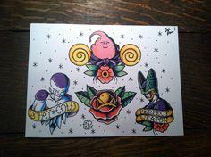 Dragon Ball Z villain tattoo flash sheet print by BosWorkshop