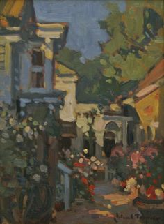 """""""Behind the Bookstore,"""" John C. Traynor, oil on canvas, 18 x 15"""", Christina Gallery."""