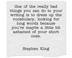 Stephen King advice on writing - keep It Simple