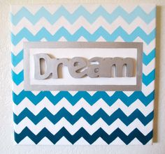 Teal Ombre Chevron Canvas Painting by ArtisticMuseAlley on Etsy, $30.00