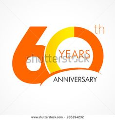 Template logo 60th anniversary with a circle in the form of a graph and the number 6. 60 years anniversary logo