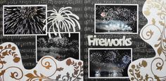 Black Scrapbook Page - Symphony of Fire - 2 page layout with fireworks set to music from Everyday Life Album 31