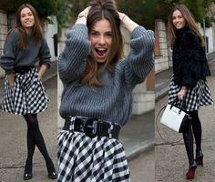 Marta Carriedo - Zara Oversize Wool Sweater, H&M 'Damier' Style Skirt, Michael Kors Color Blocked Bag, Milanoo Studded Heels, Marco Mavilla Pepito Watch - 'Damier'