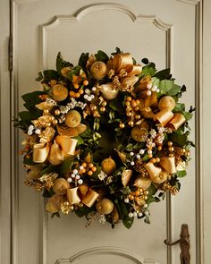 "Golden 30"" Christmas Wreath Neiman Marcus"