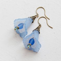 Sky Blue Lucite Lily Flower Dangle Earrings by YuniDesigns on Etsy