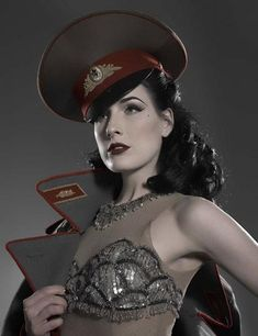 Military hat...Classic pin-up girl style