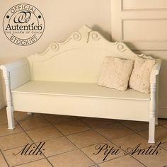 Romantisk Milk slagbænk med opbevaring gl. senge Autentico kalkmaling