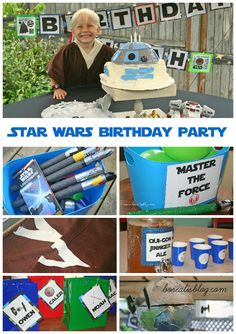 Star Wars birthday party for young children. DIY decorations, easy food, fun, age-appropriate activities, costumes, tattoos, R2D2 cake.