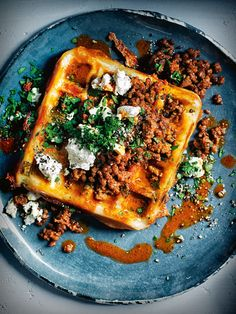 eggplant, feta and oregano waffles with harissa lamb Donna Hay Savory Waffles, Savory Breakfast, Pancakes And Waffles, Breakfast Recipes, Lamb Recipes, Cooking Recipes, Harissa, Waffle Recipes, Food Inspiration