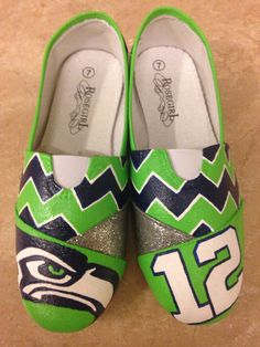 Seahawks Custom Hand Painted Shoes by shoeweet on Etsy, $60.00