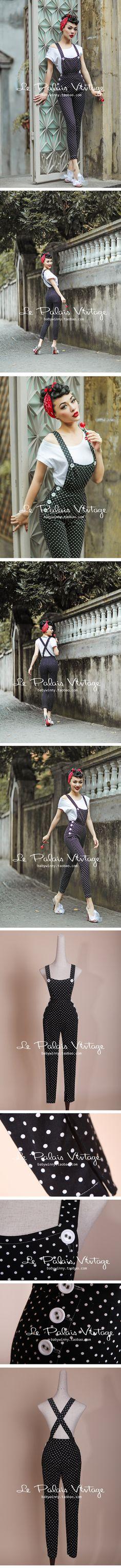 le palais vintage 秋冬限量复古圆点高腰修身包臀铅笔背带裤0.3-淘宝网