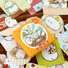 46Pcs/Pack Cute Cartoon Molang Rabbit Label Stickers Decorative Diary Stickers Scrapbooking DIY Album Stationery Stickers #Affiliate