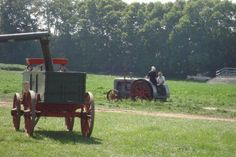 Some Amish groups use steam engines.. Amish-couple-steam-engine