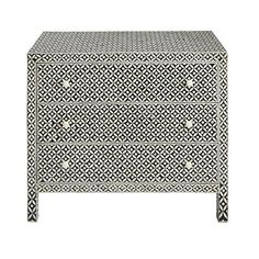 3-drawer chest of drawers in mango wood and bone inlay - Baikal