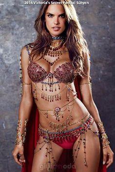 #victoriassecret 2014 red fantasy bra by alessandra ambrosio =>http://www.giyimvemoda.com/beklenen-2014-victorias-secret-defilesi-2-aralik-gunu.html