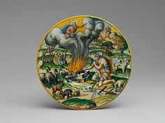 Sacrifice of Noah After a woodcut by Bernard Salomon (French, ca. 1508–ca. 1561) Date: ca. 1580–1610 Culture: French, Lyon or Nevers Medium: Tin-glazed earthenware Dimensions: 3/8 × 9 in. (1 × 22.9 cm) Classification: Ceramics-Pottery Credit Line: Gift of J. Pierpont Morgan, 1917 Accession Number: 17.190.1802