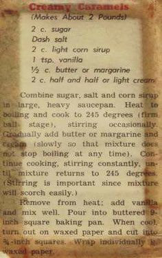 Home made Creamy Caramels – Vintage Recipe Clipping. Retro Recipes, Old Recipes, Vintage Recipes, Cooking Recipes, Recipies, Blender Recipes, Cookbook Recipes, Family Recipes, Sweet Recipes