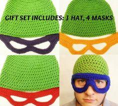 gift set....teenage mutant ninja turtles crochet hat/mask set. loves. #funny #tmnt #goninjagoninjago