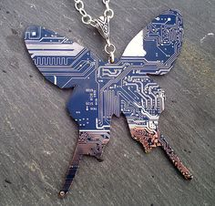 Tech butterfly necklace