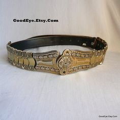 Vintage Metal Leather Cinch Belt Antique PIRATE Old by GoodEye