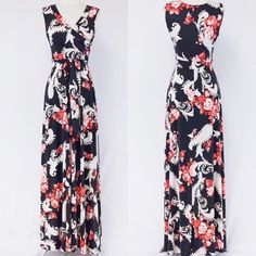 Sleeveless Wrap Maxi Dress  S M L Floral mixed print full length maxi dress featuring a mock wrap, and belt tie at waist.Sizes: S M L. Comment below with your size and I will create a separate listing for you to purchase. Dresses Maxi