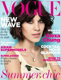 June 2011 For her second Vogue cover Alexa Chung – who in this month's issue reveals an obsession for horse-riding when she was younger and, now, a love for making things - wears a patchwork silk/cotton dress, £1,260, Erdem, at Dover Street Market. Locket, Alexa's own. Make-up by Max Factor. Hair by Wella Professional. Hair: Shon. Make-up: Hannah Murray. Digital artwork: Jon Hempstead. Fashion editor: Kate Phelan. Photographer: Josh Olins