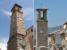 The 13th century bell tower in Amatrice before the 6.2 magnitude earthquake (L) and the situation now (R). The Tower is the symbol of Amatrice