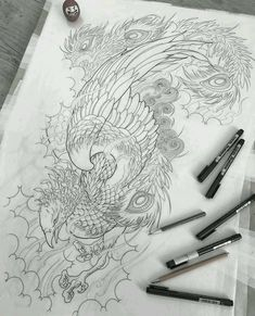 japanese tattoos meaning Japanese Phoenix Tattoo, Japanese Tattoo Art, Japanese Tattoo Designs, Future Tattoos, Love Tattoos, Body Art Tattoos, Tattoo Design Drawings, Tattoo Sketches, Fenix Tattoo