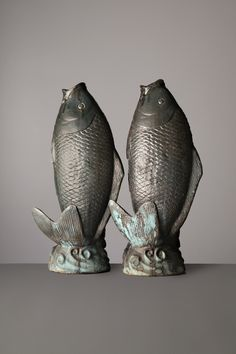 Carp, China, century, circa Dark blue-green and brighter turquoise glaze pottery, 95 x 37 cm x in. Blue Green, Dark Blue, Fish Food, Qing Dynasty, Wall Pockets, Carp, Glaze, 19th Century, Fashion Art