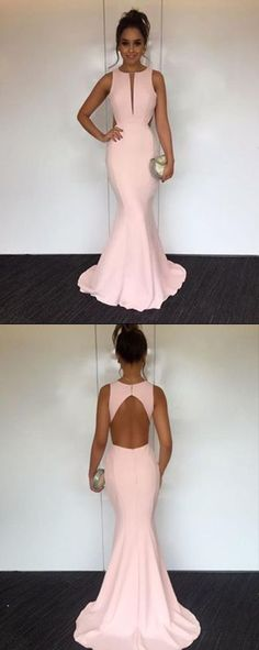 Pink Mermaid Round Neck Open Back Long Prom Dress with Sweep Train 0145 by RosyProm, $146.99 USD