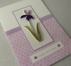 Quilled birthday card, paper quilling, lilac iris
