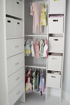 storage idea for baby's room closet  office/nursery combo.