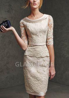 Knee-length Lace Half Sleeve Sheath Zipper Scoop Ivory Dresses - 1650392 - Prom Dresses